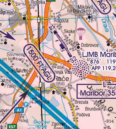 Slowenien VFR Luftfahrtkarte Anflugverfahren