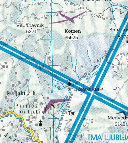 Slowenien VFR Luftfahrtkarte Luftsportgebiet Erholungsaktivitäten