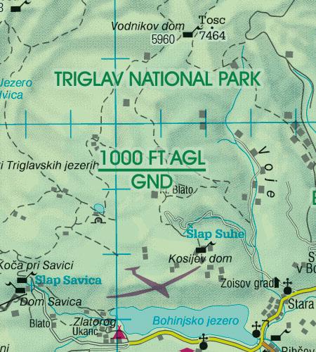 Slowenien VFR Luftfahrtkarte Naturschutzgebiete Fauna