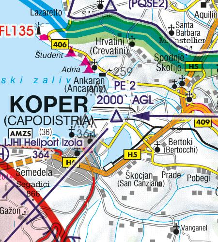 Slowenien VFR Luftfahrtkarte Sichtflugstrecke
