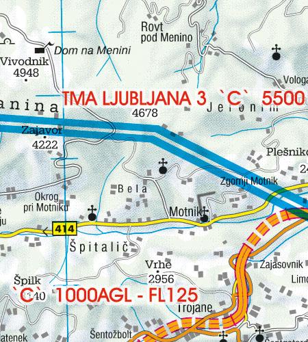 Slowenien VFR Luftfahrtkarte TMA Nahkontrollbezirk