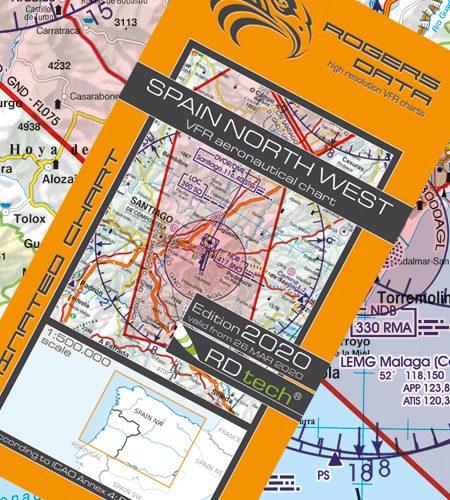 Spanien Nord West VFR Luftfahrtkarte - ICAO Karte 500k 2020