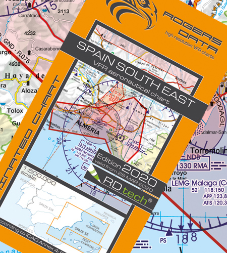 Spanien Süd Ost VFR Luftfahrtkarte - ICAO Karte 500k 2020
