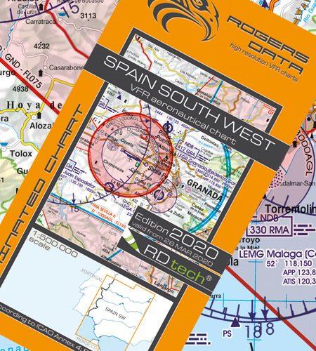 Spanien Süd West VFR Luftfahrtkarte - ICAO Karte 500k 2020
