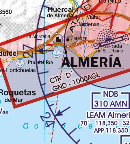 Spanien VFR Luftfahrtkarte CTR Kontrollzone Sichtflugkarte