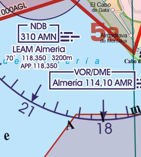 Spanien VFR Luftfahrtkarte Funknavigationsanlage