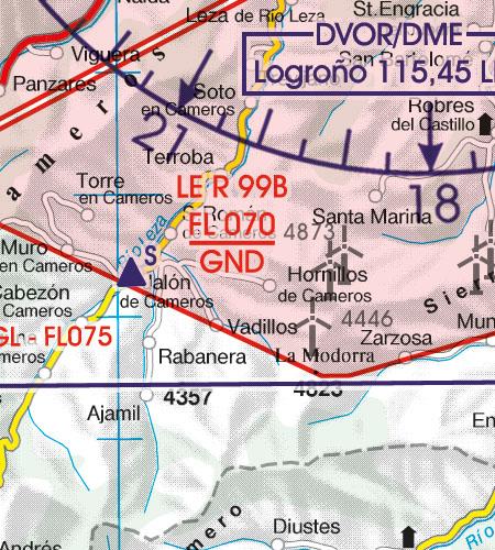 Spanien VFR Luftfahrtkarte Gefahrengebiet Luftsperrgebiet Flugbeschränkungsgebiet
