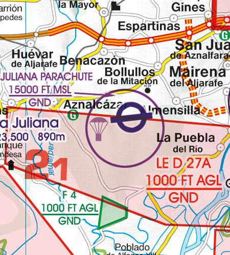 Spanien VFR Luftfahrtkarte Luftsportgebiet Erholungsaktivitäten