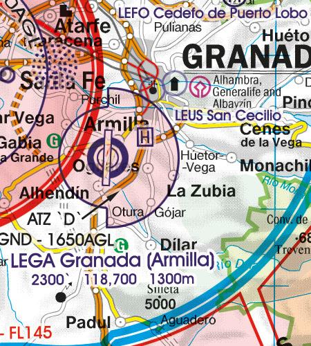 Spanien VFR Luftfahrtkarte Militaerflugplatz