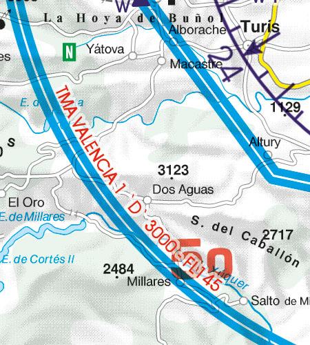 Spanien VFR Luftfahrtkarte TMA Nahkontrollbezirk
