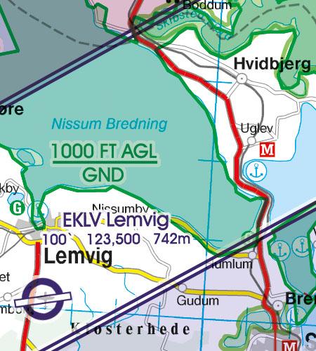 Denmark VFR Aeronautical Chart Areas with sensitive fauna nature reserve