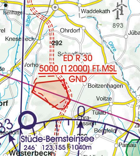 Deutschland VFR Luftfahrtkarte Flugbeschränkungsgebiet