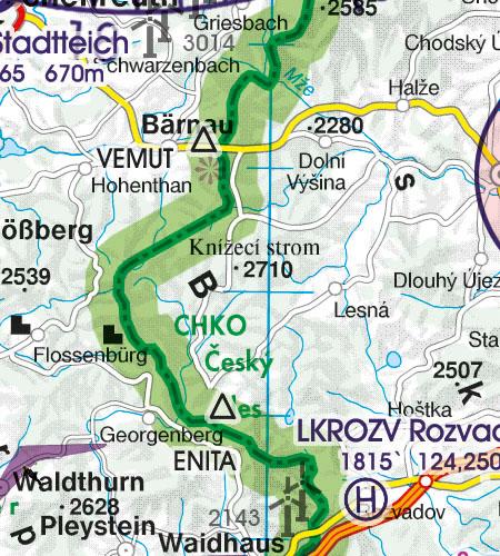 Deutschland VFR Luftfahrtkarte Grenzüberflugspunkte