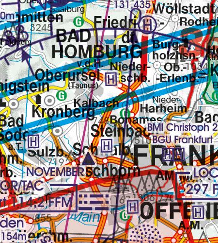 Deutschland VFR Luftfahrtkarte Hubschrauberlandeplatz Krankenhaus