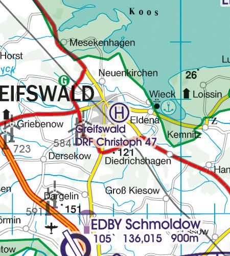 Deutschland VFR Luftfahrtkarte Hubschrauberlandeplatz
