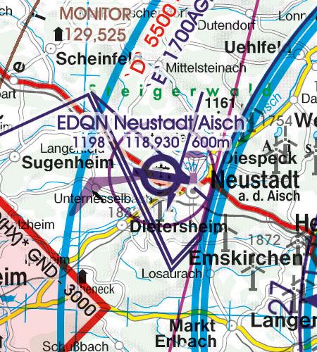 Deutschland VFR Luftfahrtkarte Luftsportgebiet Erholungsaktivitäten