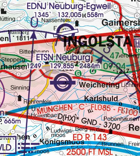 Deutschland VFR Luftfahrtkarte Militärflugplatz
