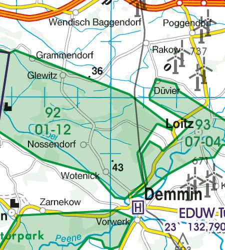 Deutschland VFR Luftfahrtkarte Naturschutzgebiet Fauna