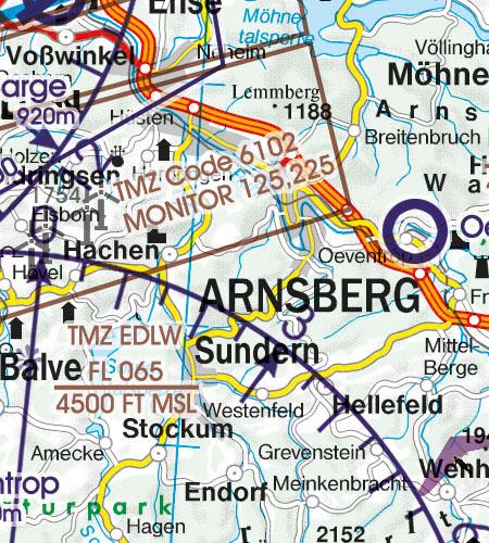 Deutschland VFR Luftfahrtkarte TMZ Transponderpflicht