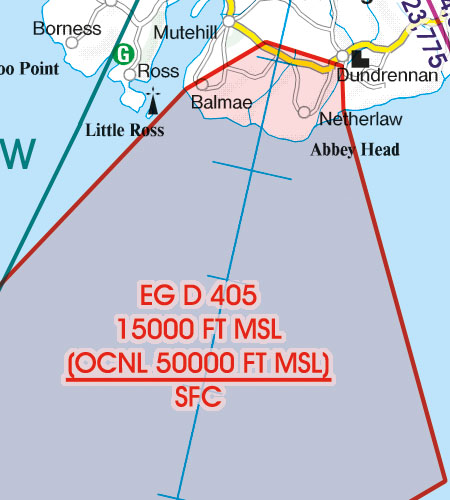 Great Britain VFR Aeronautical Chart EG-D-restricted area