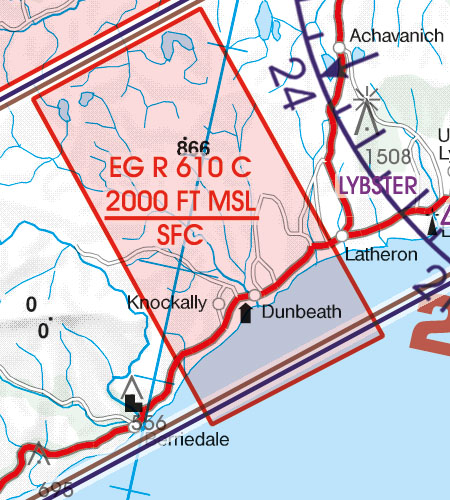 Great Britain VFR Aeronautical Chart EG-R-restricted area