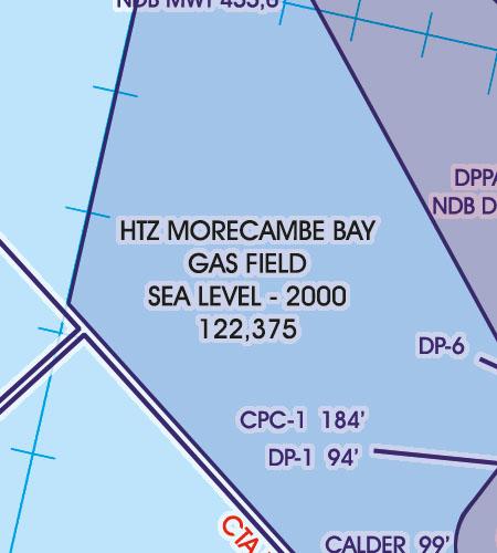 Great Britain VFR Aeronautical Chart HTZ gas field