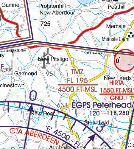 Great Britain VFR Aeronautical Chart TMZ transponder mandatory zone