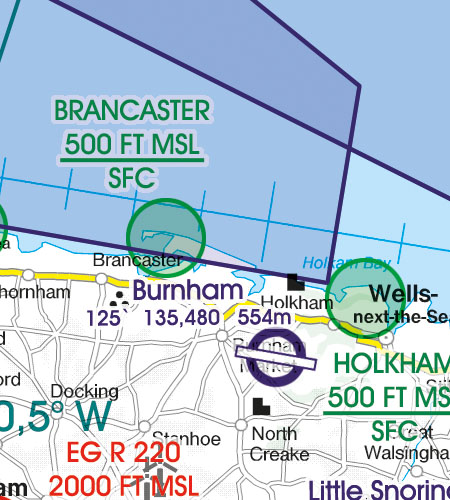 Great Britain VFR Aeronautical Chart areas with sensitive fauna