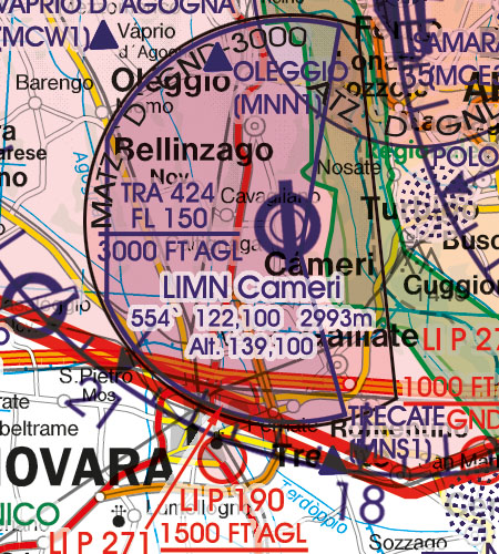Italy VFR Aeronautical Chart TRA Temporary reserved airspaces