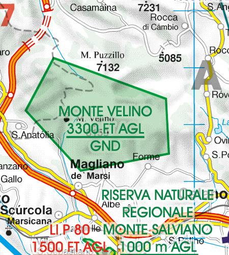 Italy VFR Aeronautical Chart Areas with sensitive fauna nature reserve