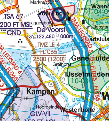 Netherlands VFR Aeronautical Chart TMZ transponder mandatory area