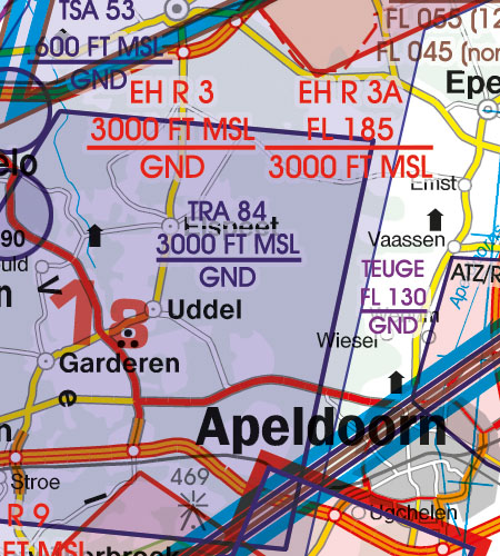 Netherlands VFR Aeronautical Chart TRA temporary reserved area