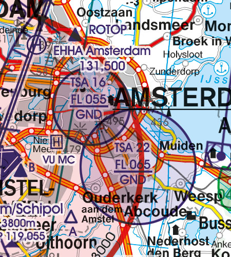 Netherlands VFR Aeronautical Chart TSA temporary segregated area