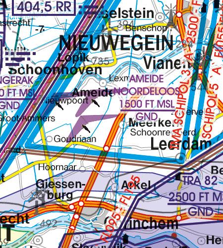 Netherlands VFR Aeronautical Chart aerial sporting recreational activities
