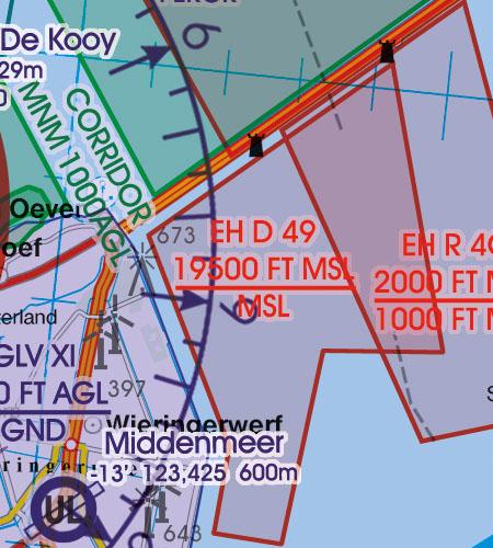 Netherlands VFR Aeronautical Chart danger area