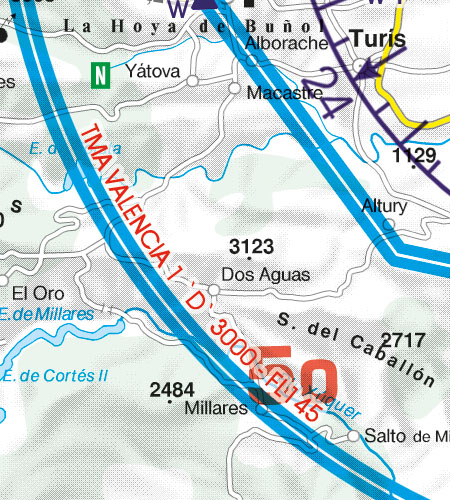 Spain VFR Aeronautical Chart TMA Temporary Reserved Airspace
