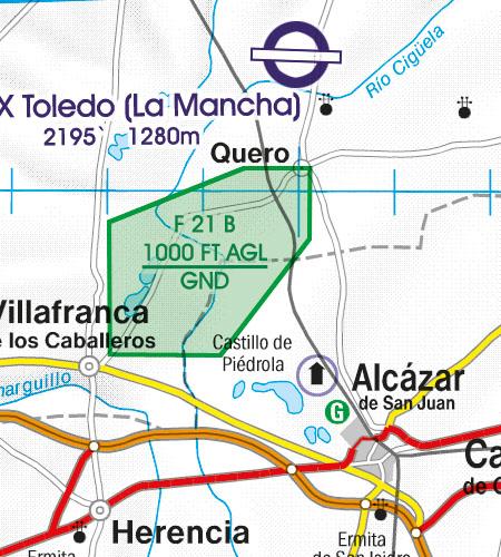 Spain VFR Aeronautical Chart Areas with sensitive fauna Nature seserve