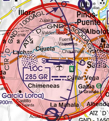 Spain VFR Aeronautical Chart Military Aerodrome Granada
