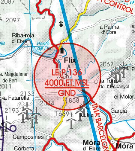 Spain VFR Aeronautical Chart Prohibited Area