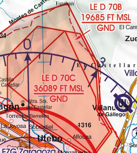Spain VFR Aeronautical Chart Danger Area
