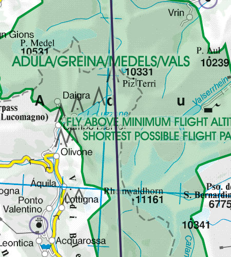 Switzerland VFR Aeronautical Chart Areas with sensitive fauna nature reserve