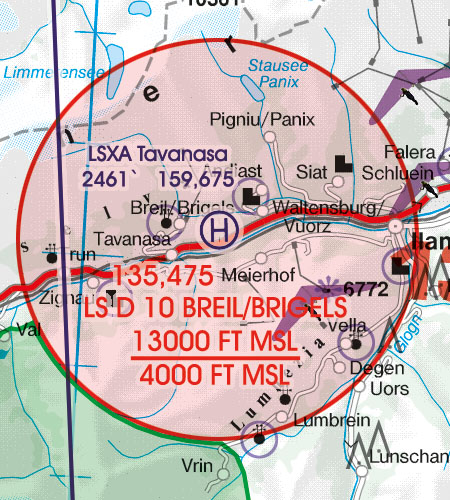 Switzerland VFR Aeronautical Chart Prohibited Restricted Danger Area
