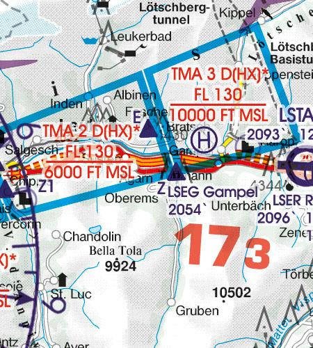 Switzerland VFR Aeronautical Chart TMA Terminal Control Area