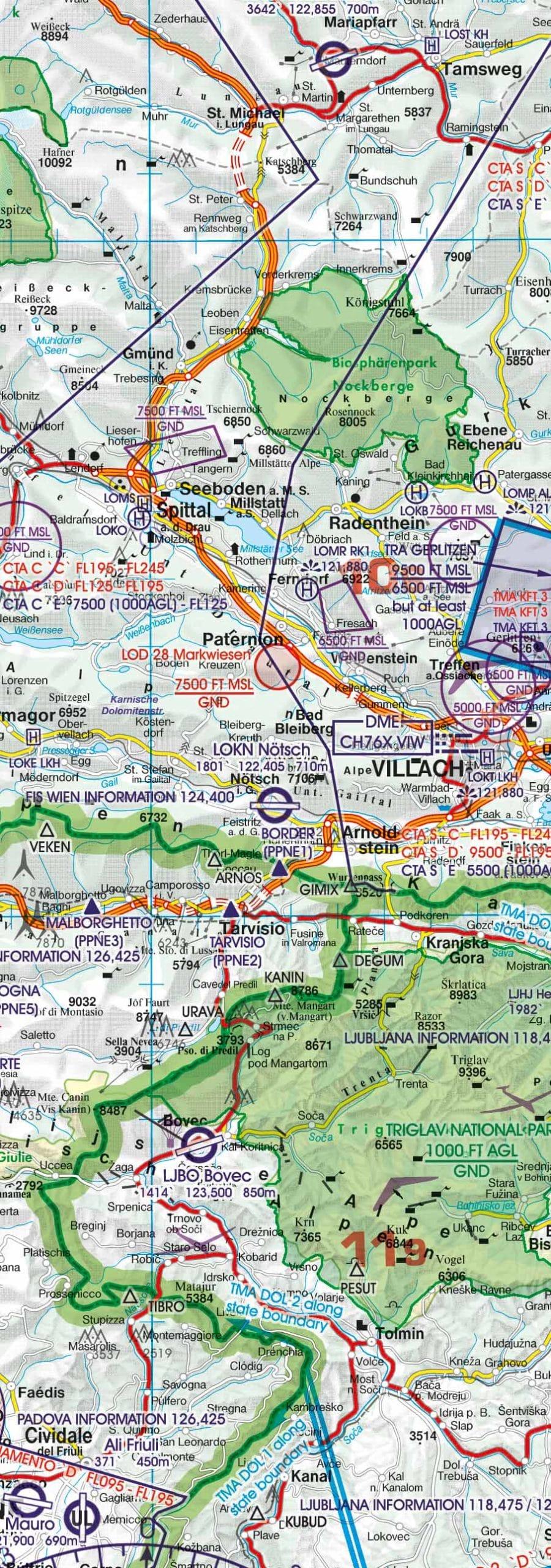 Nationalparks und Naturschutzgebeite Österreich ICAO Karte
