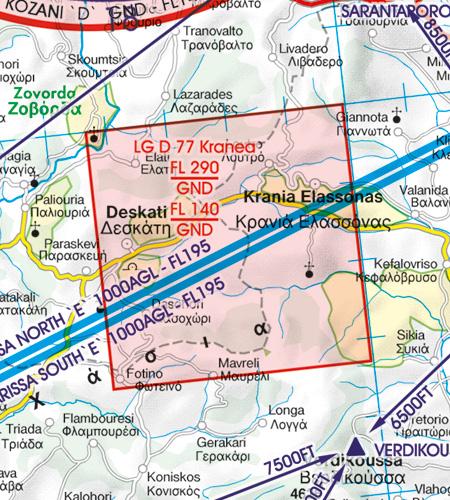 Gefahrengebiet VFR Luftfahrtkarte Griechenland