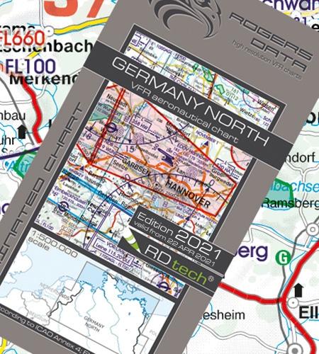 Deutschland Nord VFR Luftfahrtkarte ICAO Karte 2021