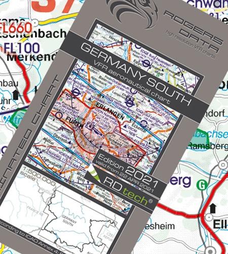 Deutschland Süd VFR Luftfahrtkarte ICAO Karte 2021