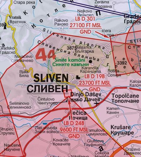 Gefahrengebiet VFR Luftfahrtkarte Bulgarien