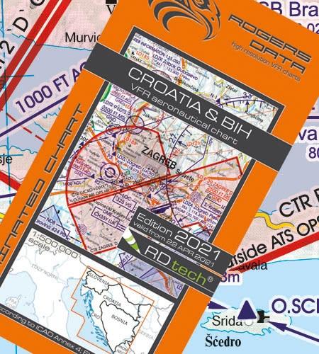 Kroatien VFR Luftfahrtkarte ICAO Karte 2021