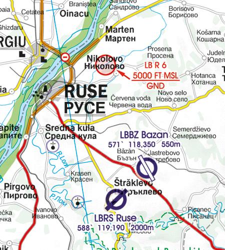 LB R Flugbeschränkungsgebiet Flugplatz Bulgarien